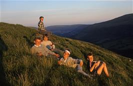 Soaking up the beauty of the Black Mountains at the top of Darren Lwyd.  Back to front: Steven, Daniel, Simon Warner, Brett  & Philip