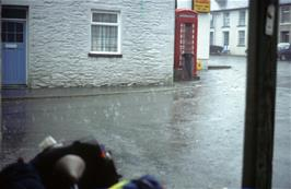 The storm in Llanddewi Brefi, viewed from the shelter of the grocery store