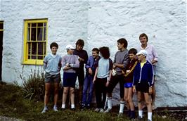 The group at Rowen youth hostel.  L to R: Rebecca, David, Andrew, Paul, Jonathan, Jeremy, Chris and Stephen .. with the warden behind