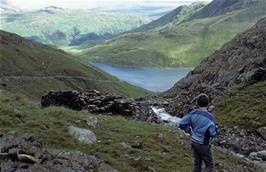 David looking back to lake Glaslyn on the final walk to the top of Snowdon