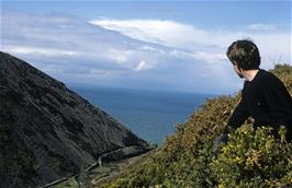 One of our members (Ben Palmer?  Or John Stuart?) looking down to Heddons Mouth from the coastal path between Hunters' Inn and Woody Bay