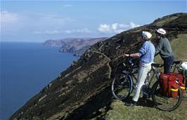 Andrew Simmons and Graham Moates admiring the view from the coast path on the way towards Woody Bay