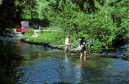 Andrew Billington (I think) wades the ford at North Bovey, with Simon Lewis (I think) behind
