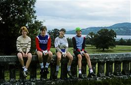 Catherine, Michael Hall, Chris Hall and Richard Van Looy outside Loch Lomond youth hostel