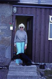 The warden of Raasay youth hostel with her dog