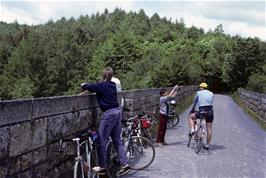Mark Morris talks to Richard Hopper on one of the Plym Valley viaducts, watched by Luke Rake