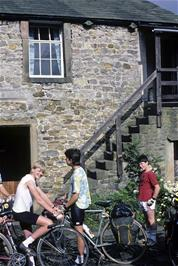 The courtyard at Slaidburn YH, steps leading to our dormitory.  LtoR: Matthew Burrows, Graham Moates & Gary Johnson