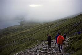 The misty heights of Ben Nevis, just over half way up - time to head back