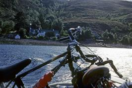 The ferry to Ullapool, looking back at the track descent to the Altnaharrie Inn