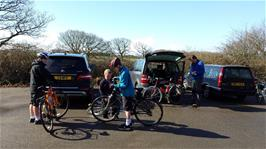 Unloading the bikes at Meeth car park