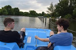 Dillan and Jude pedal hard on the Regents Park Boating Lake
