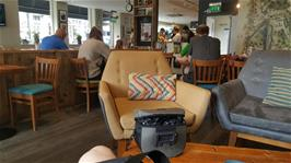 A very pleasant cafe stop at Esquires Coffee, Ambelside, for Dillan and Michael