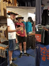 Tao and Jude try on new outfits in Gaynor Sports, Ambleside, probably the largest outdoor equipment store in the UK