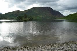 "Woodhouse Island as viewed from the ""beach"" at the south east end of Crummock Water"