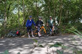 Michael, Dillan and Gavin at the top of Hembury Woods on the way home